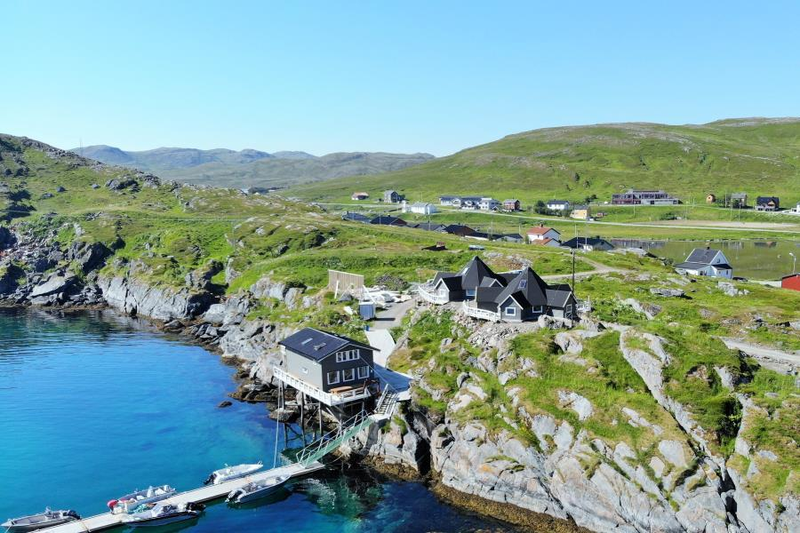 Drone: Fisherman's Lodge Cape Marina, Nordkap Nordnorwegen